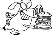 Cartoon Pig Hamburger — Stock Vector