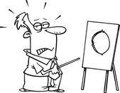 Homme d'affaires de dessin animé pointant sur une planche avec un trou — Vecteur