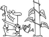 Cartoon man watering the plant — Stock Vector