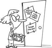 Cartoon mother of teenagers — Stock Vector