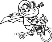 Cartoon boy in a cape and goggles while ridding his trike — Wektor stockowy