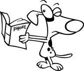 Cartoon Dog Reading the Phone Book — Stock Vector