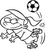 Cartoon girl playing soccer — Stock Vector