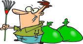 Cartoon man raking leaves — Stock Vector