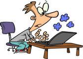 Cartoon a man using a smoking laptop — Stock Vector