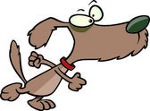 Cartoon determined dog stomping — Stock Vector