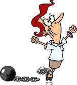 Cartoon woman breaking free from debt — Stock Vector