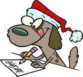 Tecknad brun valp hund santa hatt och skriva ett brev — Stockvektor