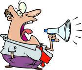 Cartoon man and megaphone — Stock Vector