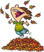 Cartoon Boy Jumping in Leaf Pile — Stock Vector