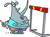Cartoon Rhinoceros High Hurdles — Stock Vector