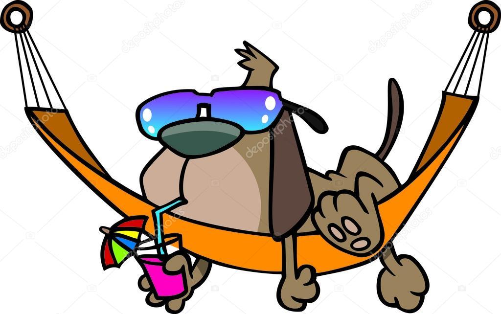 Cartoon Hund auf einer Hängematte faulenzen — Stockvektor ...