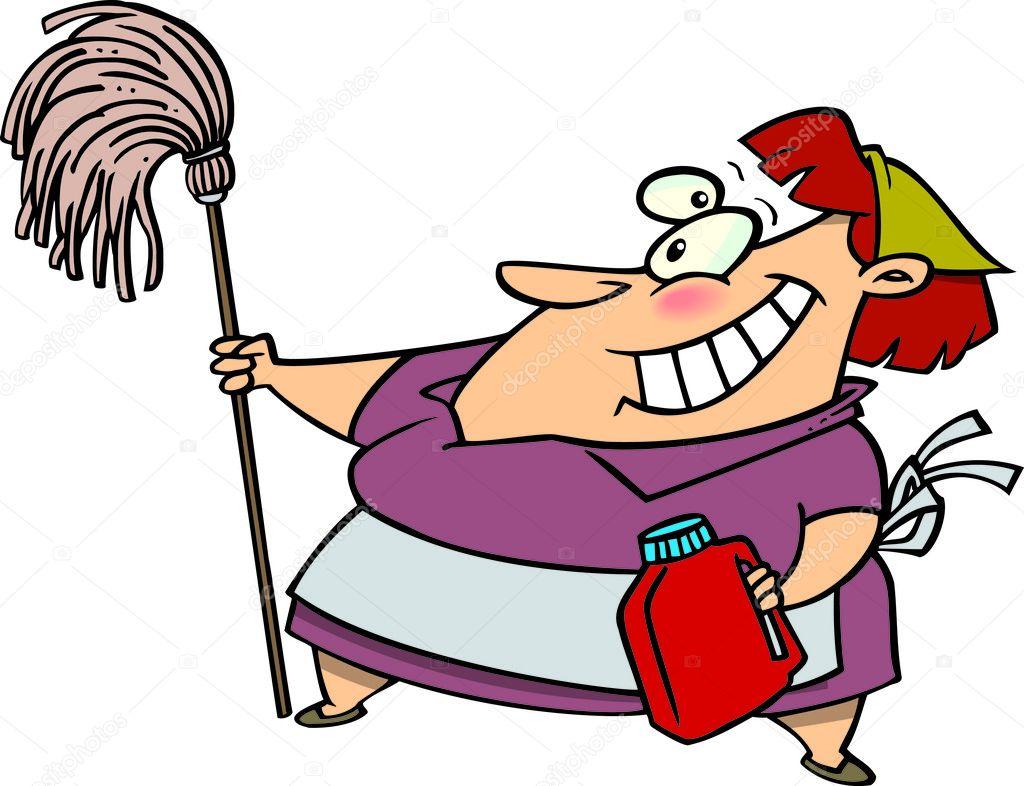 Cartone animato di una donna che fa le pulizie