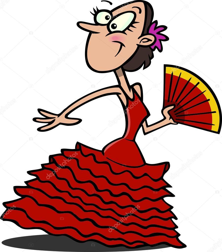 Danseuse de flamenco de dessin anim image vectorielle 13979969 - Dessin anime danseuse ...