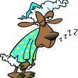 Vector de stock : Cartoon Sleepy Sheep