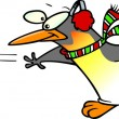 Vector de stock : Cartoon Penguin Snowball Fight