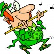 Cartoon Leprechaun Playing Flute - Stock Vector