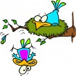 Cartoon Bird Leaving the Nest - 