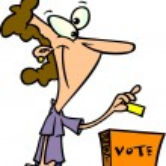 Cartoon Woman Voting — Stock Vector