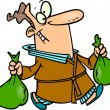 Cartoon Man Carrying Trash Bags - Imagen vectorial