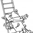 图库矢量图片: Cartoon MFalling Down Ladder