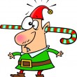 Royalty-Free Stock Vector Image: Cartoon Christmas Elf with Candy Cane