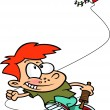 Cartoon Boy Flying a Kite — Image vectorielle