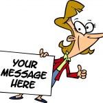 Cartoon Businesswoman Holding a Sign — Stock Vector #13982704