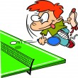 Stock Vector: Cartoon Boy Playing Ping Pong