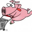 Cartoon Pig Shopper — Imagen vectorial