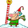 Stock Vector: Cartoon North Pole Christmas Elf
