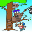 Royalty-Free Stock Vector Image: Cartoon Pirate Kids in Tree House