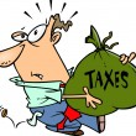 Cartoon Man with Tax Burden — Stock Vector #13982927