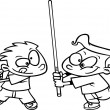 Cartoon Light Saber Fight — Stockvektor #13983195