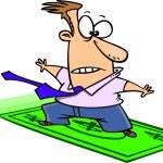 Cartoon Money Surfer — Stock Vector