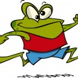 Stock Vector: Cartoon Frog Jogging