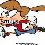 Cartoon Rugby Girl Running — Stock Vector