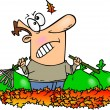 Cartoon Man Raking Leaves — Stock Vector