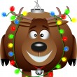 Stock Vector: Cartoon Rudolph Christmas Ornament