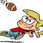 Cartoon Girl Catching Football — Stock Vector