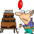 Royalty-Free Stock Imagem Vetorial: Cartoon Old Man Birthday Cake