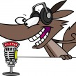 Stock Vector: Cartoon Wolf Radio DJ Announcer
