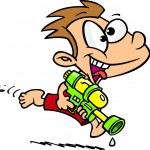 Cartoon Boy with Water Gun — Stock Vector