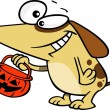 Stock Vector: Cartoon Dog Trick or Treating