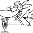 Cartoon Wolf Radio DJ Announcer — Stock Vector