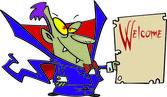 Cartoon Dracula Vampire Sign — Stock Vector