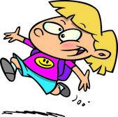 Cartoon Happy School Girl — Stock Vector