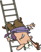 Cartoon Man Falling Down the Ladder — Stock Vector