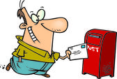 Cartoon Man Mailing a Letter — Stock Vector