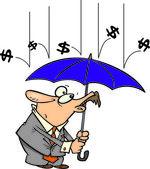 Cartoon chover dinheiro — Vetor de Stock
